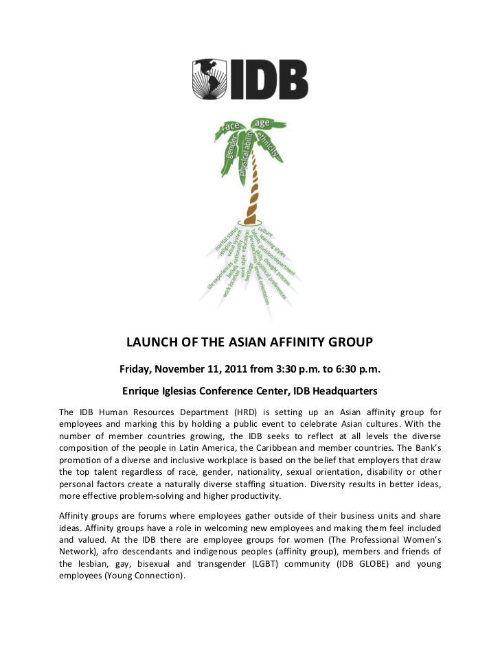 LAUNCH OF THE ASIAN AFFINITY GROUP               Friday, November 11, 2011 from 3:30 p.m. to 6:30 p.m.                Enri...