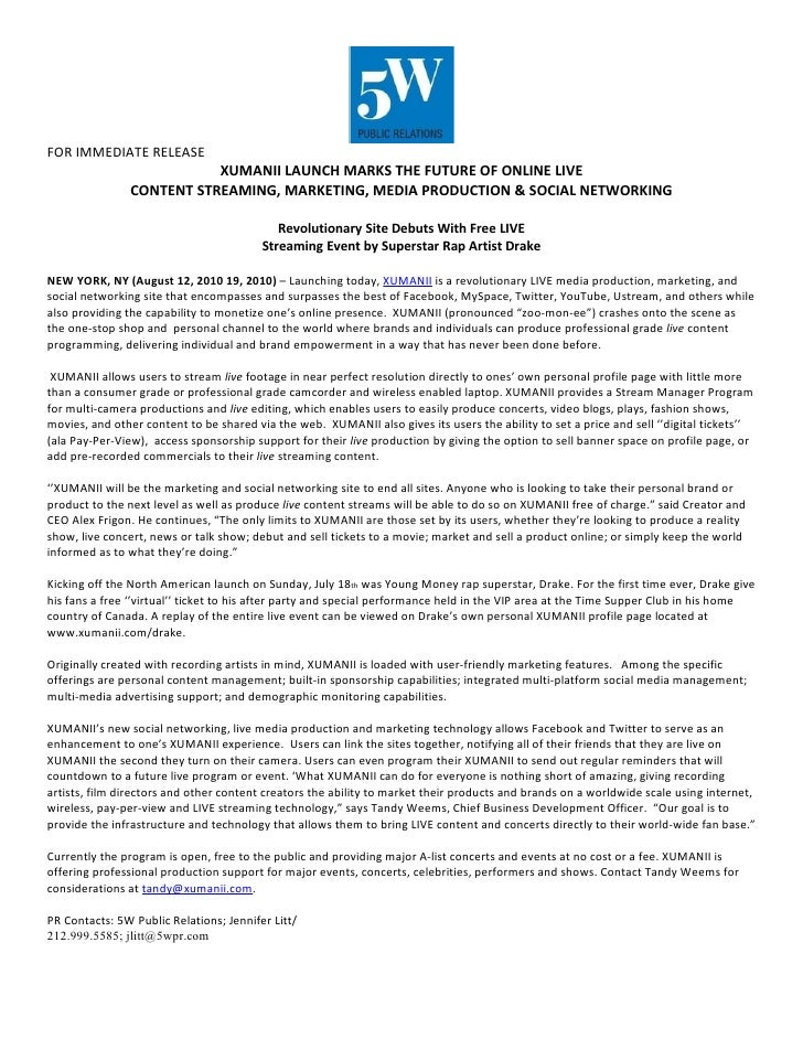 FOR IMMEDIATE RELEASE                            XUMANII LAUNCH MARKS THE FUTURE OF ONLINE LIVE                 CONTENT ST...