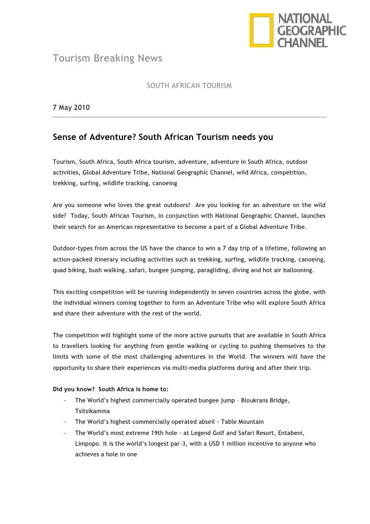 Tourism Breaking News<br />SOUTH AFRICAN TOURISM<br />7 May 2010<br />Sense of Adventure? South African Tourism needs you<...