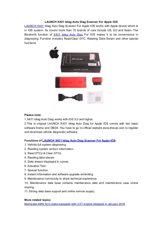 Launch x431 idiag auto diag scanner for apple ios