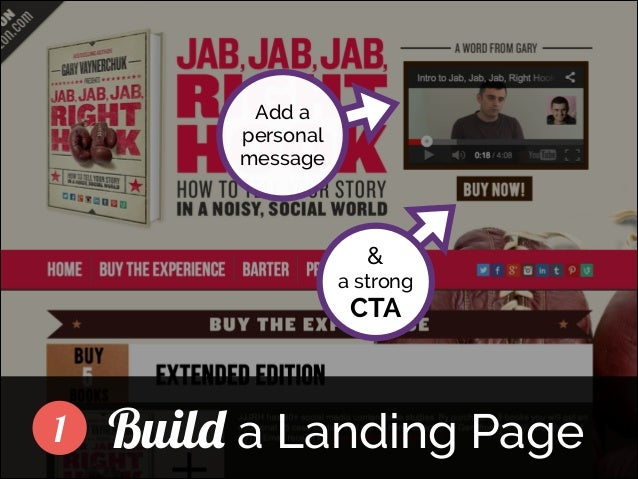 Add a personal message  ]  &  a strong  CTA  1  Build a Landing Page