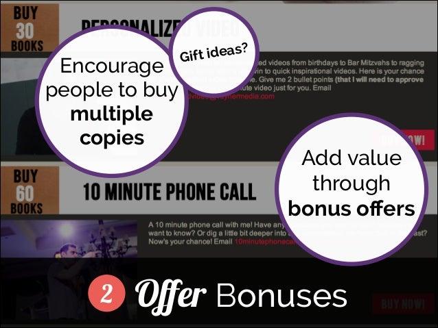 Encourage people to buy multiple copies  deas? Gift i  ]  2  Add value through bonus offers  Offer Bonuses