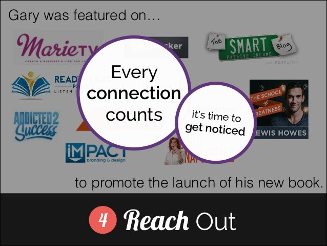 Gary was featured on…  Every connection counts]  it's time to  get noticed  to promote the launch of his new book.  4  Rea...