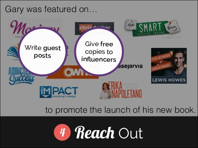Gary was featured on…  Write guest posts  Give free copies to influencers ]  to promote the launch of his new book.  4  Rea...