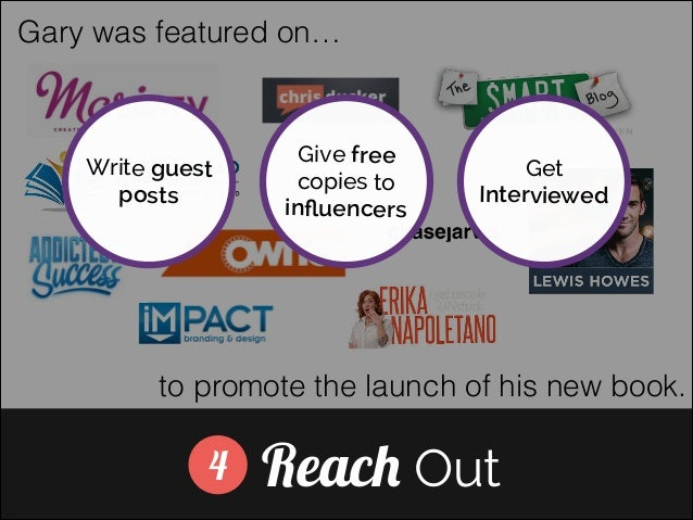 Gary was featured on…  Write guest posts  Give free copies to influencers  Get Interviewed  ]  to promote the launch of his...