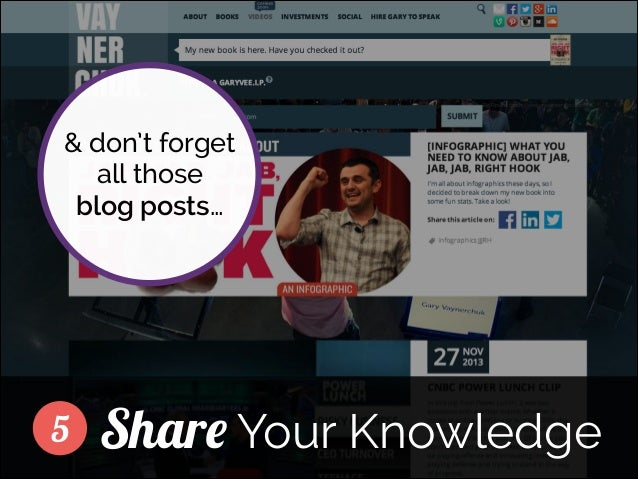 & don't forget all those blog posts… ]  5  Share Your Knowledge