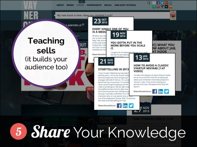 Teaching sells  (it builds your audience too) ]  5  Share Your Knowledge