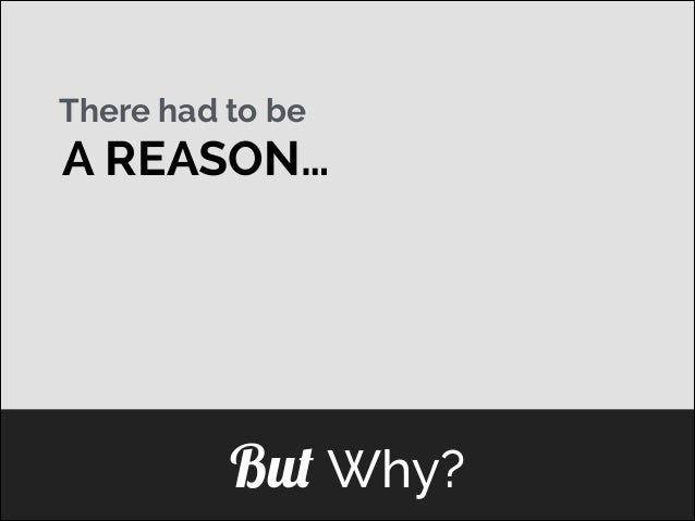 There had to be  A REASON… ]  But Why?