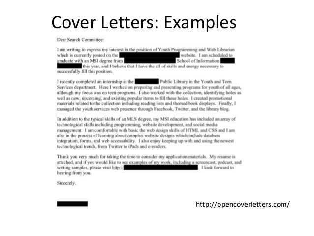 librarian cover letter samples