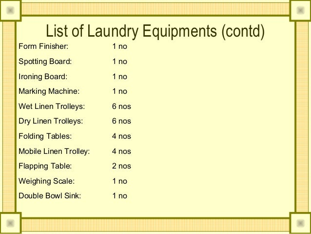 List of Laundry Equipments. Laundry an housekeeper perspective