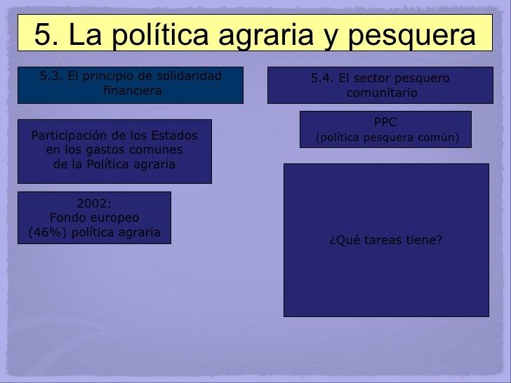 5.3. El principio de solidaridad financiera 5.4. El sector pesquero comunitario Participación de los Estados en los gastos...