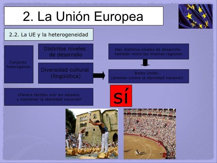 2. La Unión Europea 2.2. La UE y la heterogeneidad Distintos niveles  de desarrollo Diversidad cultural  (lingüística) Hay...