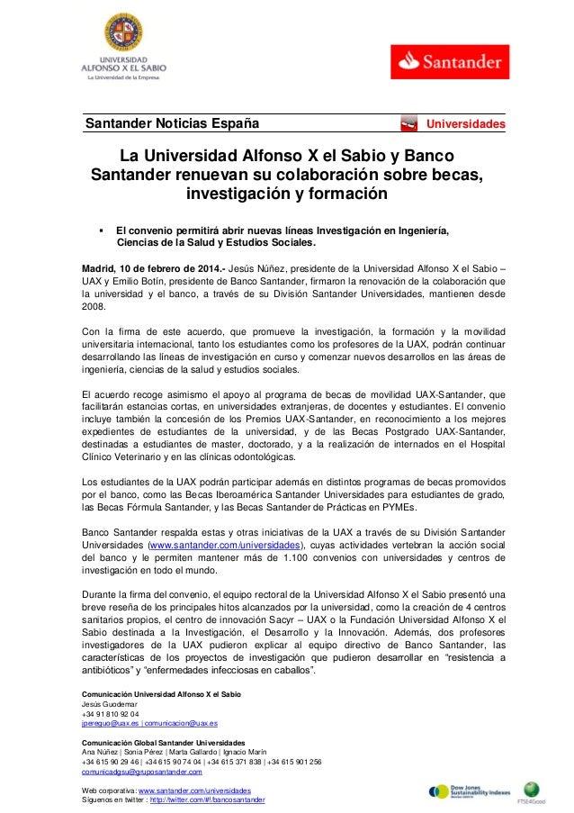 Santander Noticias España  Universidades  La Universidad Alfonso X el Sabio y Banco Santander renuevan su colaboración sob...