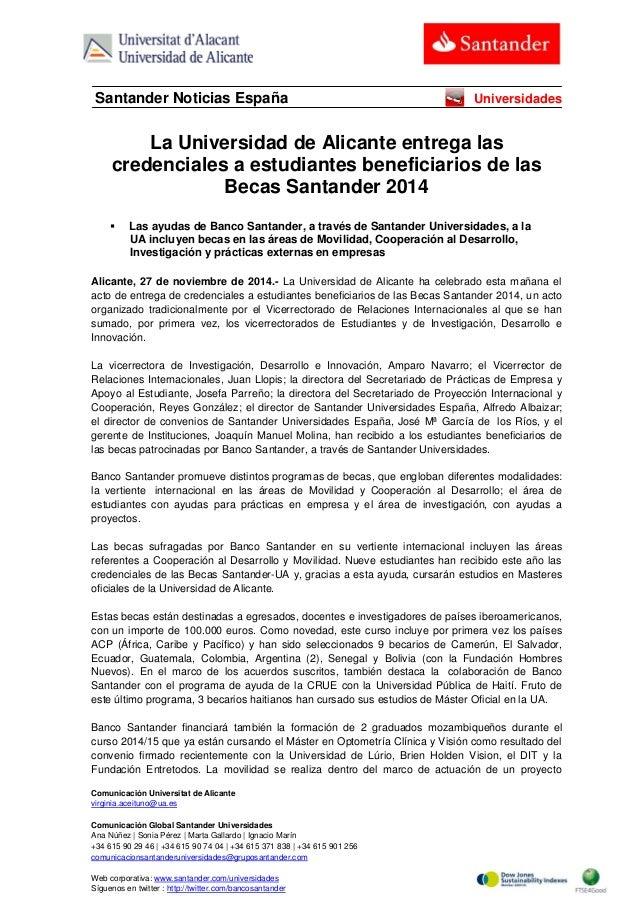 Comunicación Universitat de Alicante  virginia.aceituno@ua.es  Comunicación Global Santander Universidades  Ana Núñez | So...