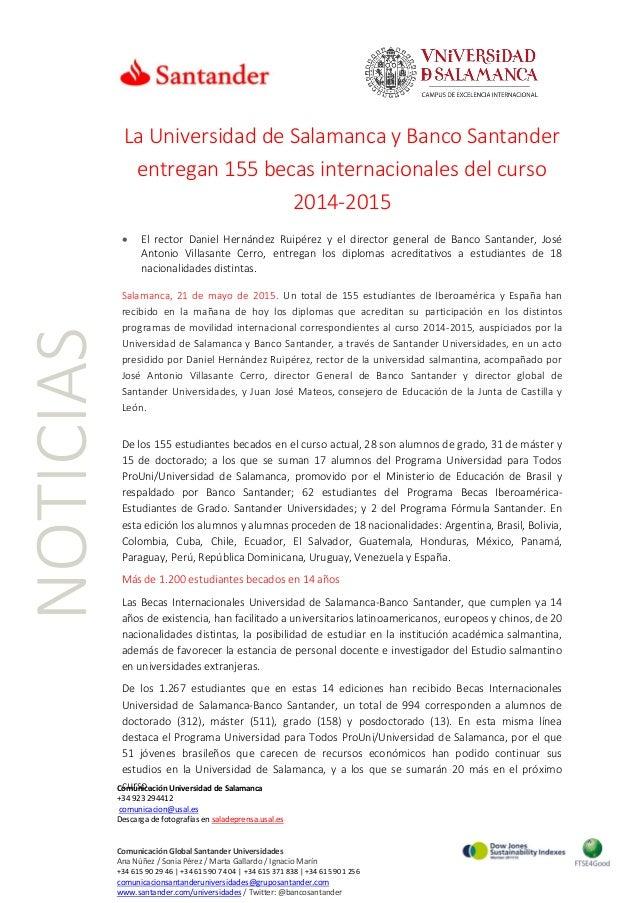 NOTICIAS Comunicación Universidad de Salamanca +34 923 294412 comunicacion@usal.es Descarga de fotografías en saladeprensa...