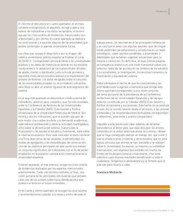I  DIAGNÓSTICO  La Universidad Española en cifras 2012