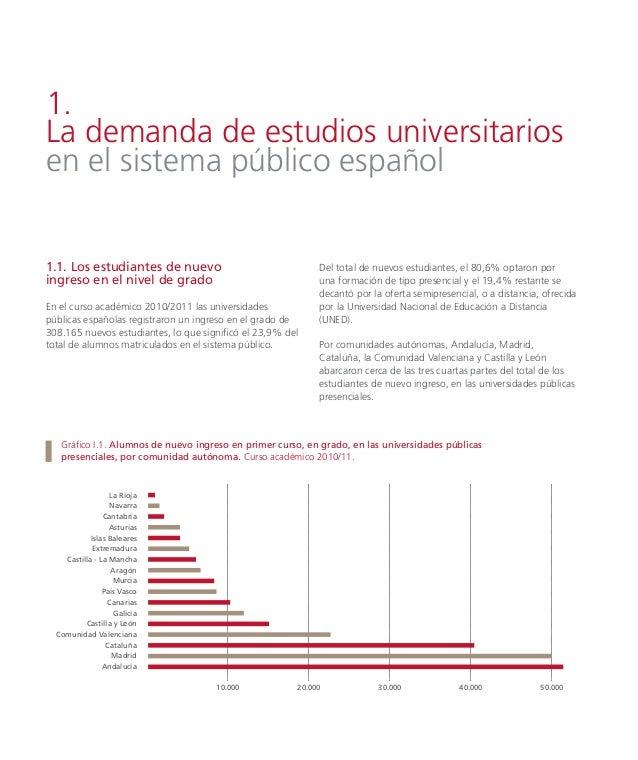 Gráfico I.4. Distribución de la matrícula de alumnos de nuevo ingreso, en grado, por rama de enseñanza en las universidade...