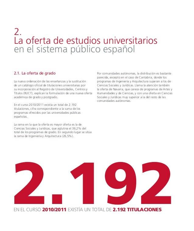 2.2. La oferta de posgrado La oferta de másteres oficiales fue ligeramente superior a la oferta de estudios de grado, ofre...