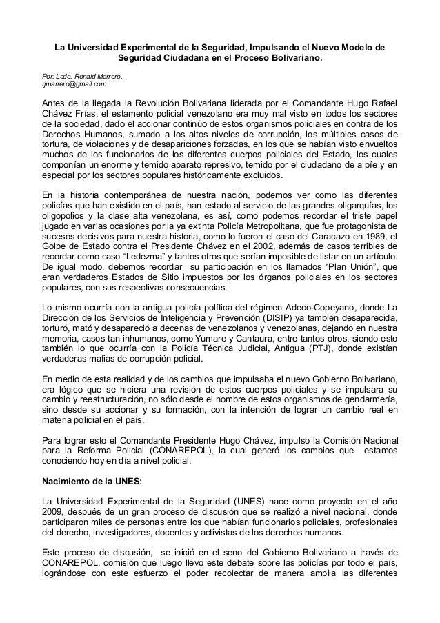 La Universidad Experimental de la Seguridad, Impulsando el Nuevo Modelo de Seguridad Ciudadana en el Proceso Bolivariano. ...
