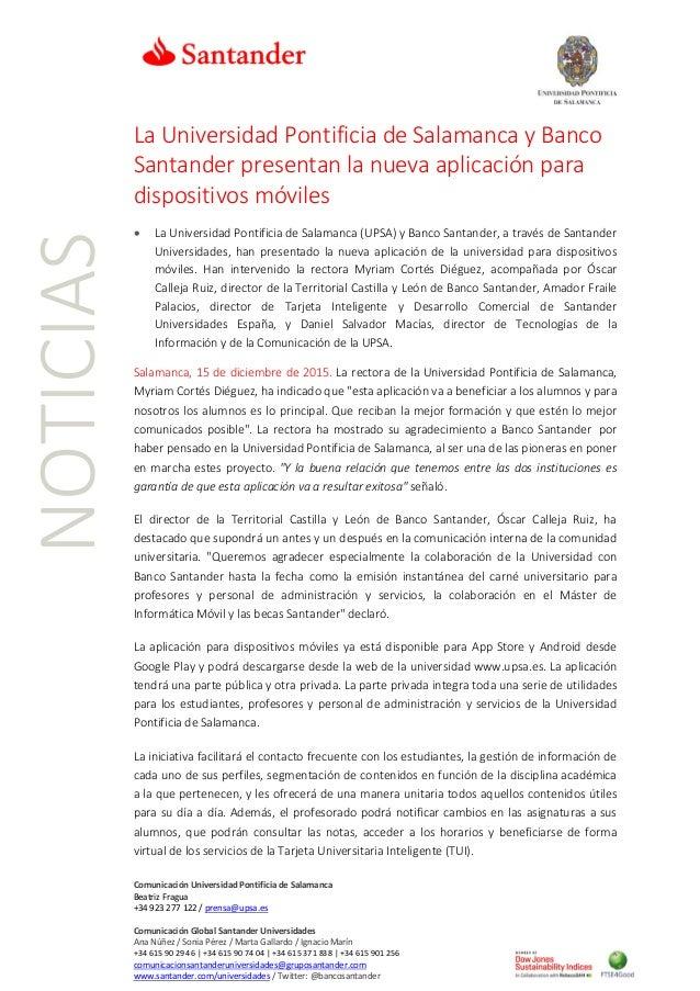 Comunicación Universidad Pontificia de Salamanca Beatriz Fragua +34 923 277 122 / prensa@upsa.es Comunicación Global Santa...