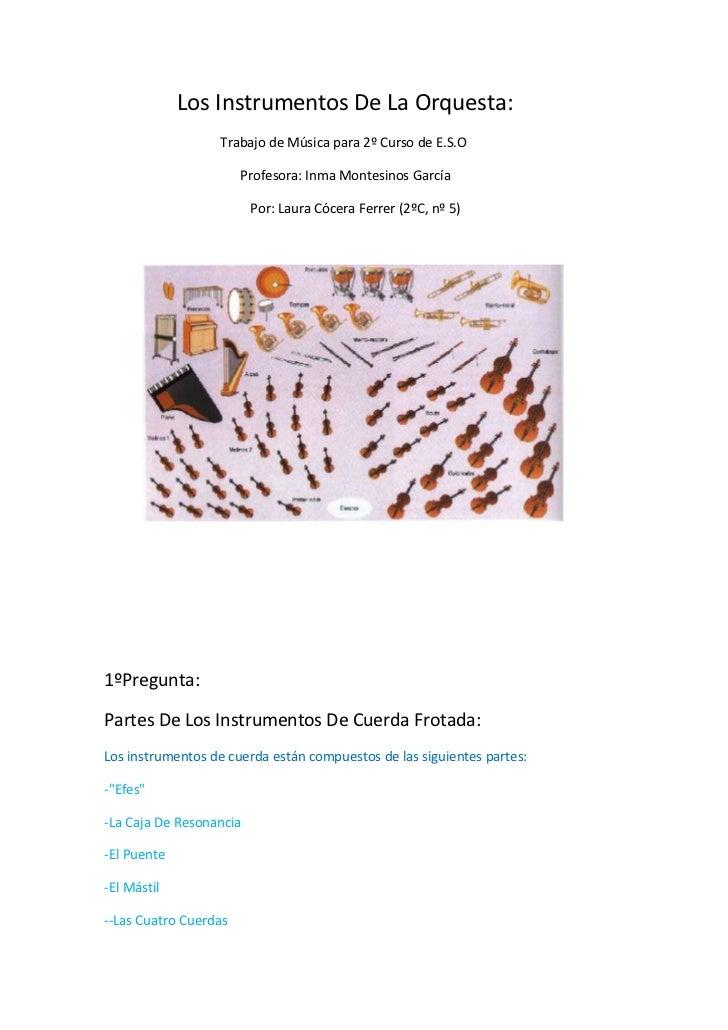 Los Instrumentos De La Orquesta:<br />                     Trabajo de Música para 2º Curso de E.S....