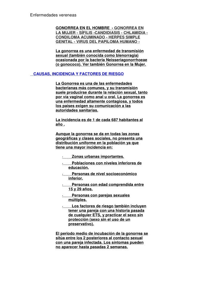 Enfermedades vereneas           GONORREA EN EL HOMBRE - GONORREA EN           LA MUJER - SÍFILIS -CANDIDIASIS - CHLAMIDIA ...