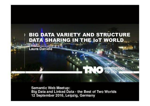 BIG DATA VARIETY AND STRUCTURE DATA SHARING IN THE IoT WORLD Laura Daniele Semantic Web Meetup: Big Data and Linked Data -...