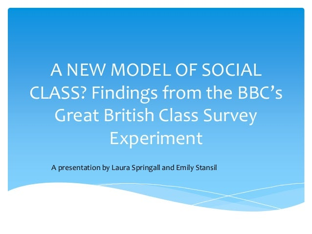 A NEW MODEL OF SOCIAL CLASS? Findings from the BBC's Great British Class Survey Experiment A presentation by Laura Springa...