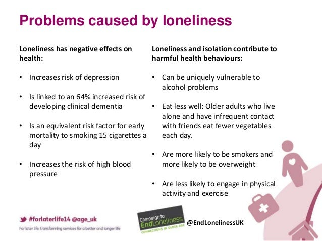 effects of loneliness and isolation in Social isolation may raise death risk for elderly study found lack of social contact a bigger predictor of early death than just feeling alone.