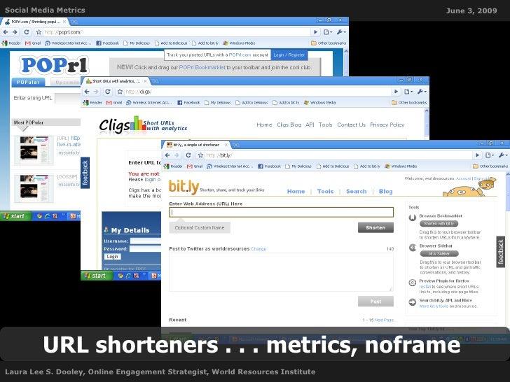 Social Media Metrics                                                           June 3, 2009              URL shorteners . ...