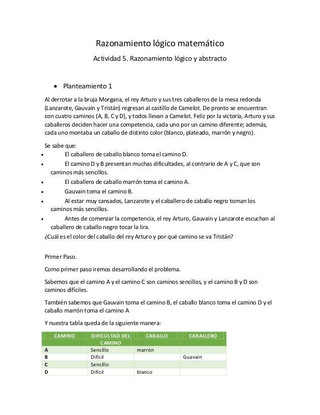 Razonamiento lógico matemático Actividad 5. Razonamiento lógico y abstracto  Planteamiento 1 Al derrotar a la bruja Morga...