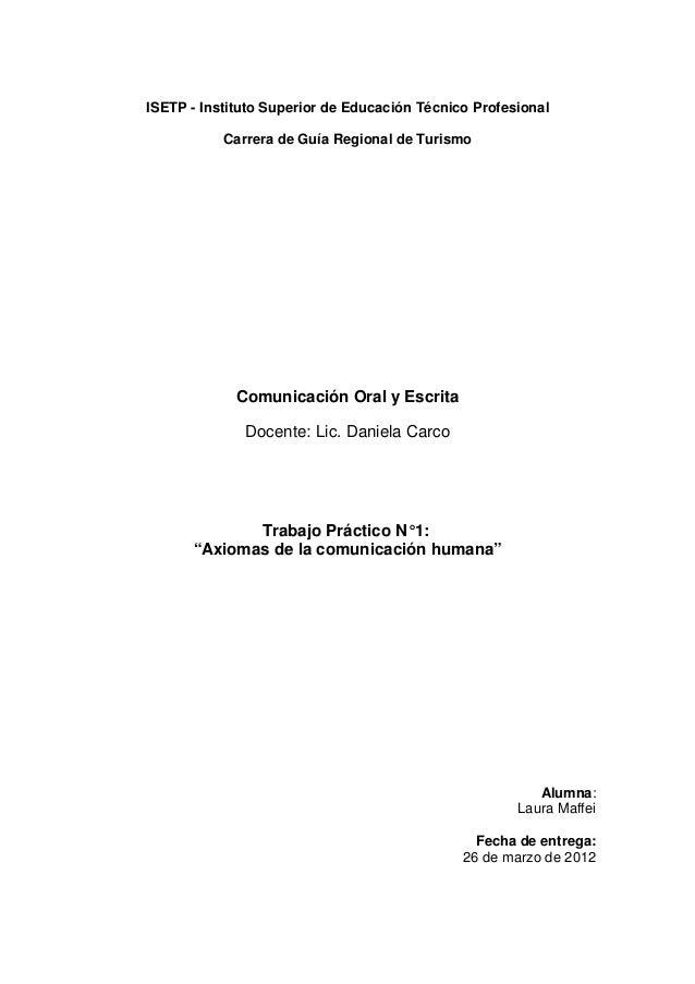 ISETP - Instituto Superior de Educación Técnico Profesional           Carrera de Guía Regional de Turismo             Comu...