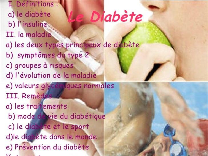 I. Définitions : a) le diabète b) linsuline                 Le DiabèteII. la maladiea) les deux types principaux de diabèt...