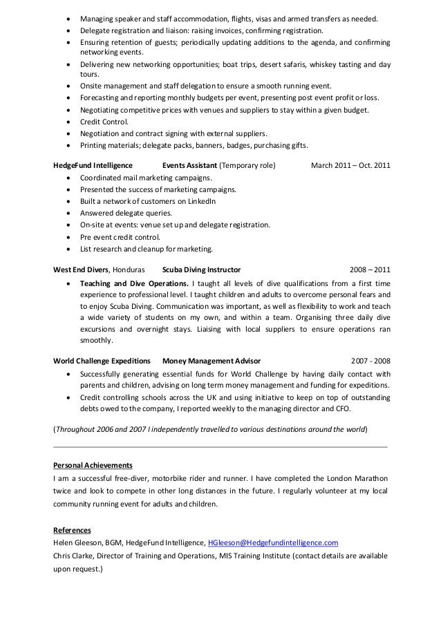 Laura McCrave Event Manager CV