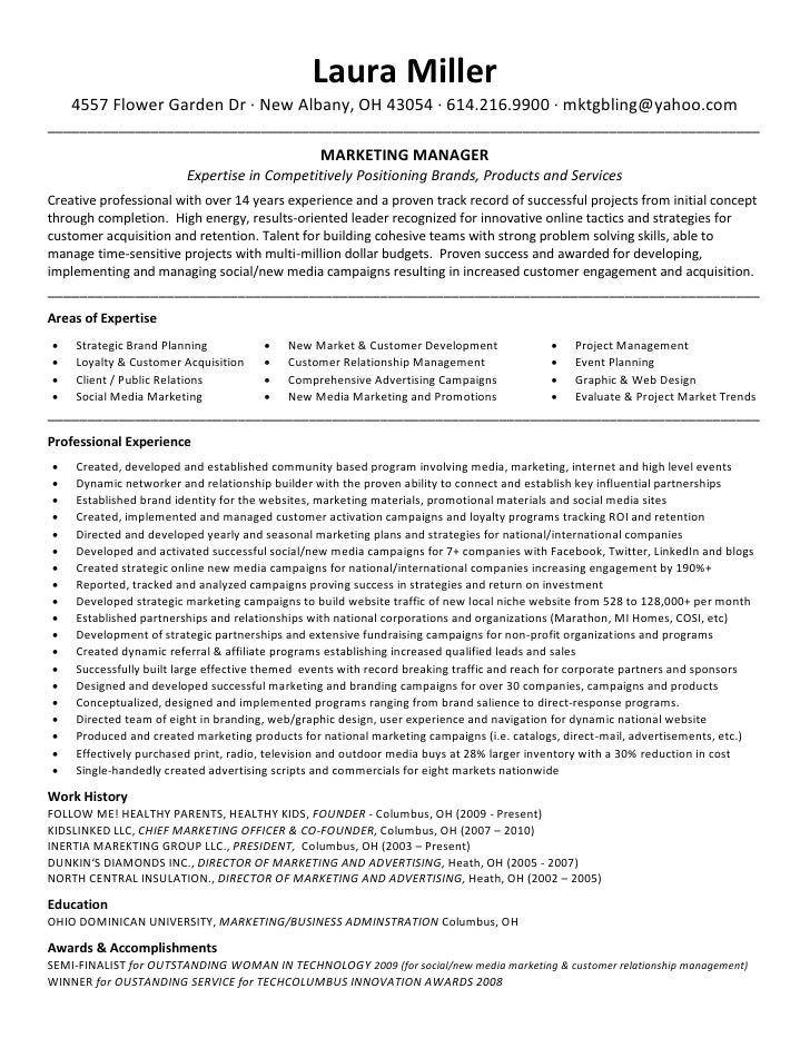 Resume For Marketing Manager Position