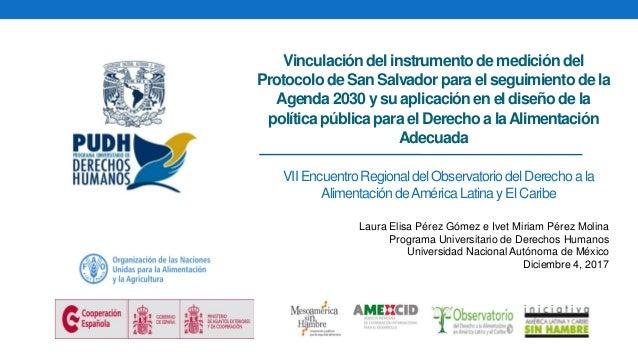 VII EncuentroRegional delObservatoriodelDerechoa la Alimentación deAméricaLatinay ElCaribe Vinculacióndel instrumentode me...