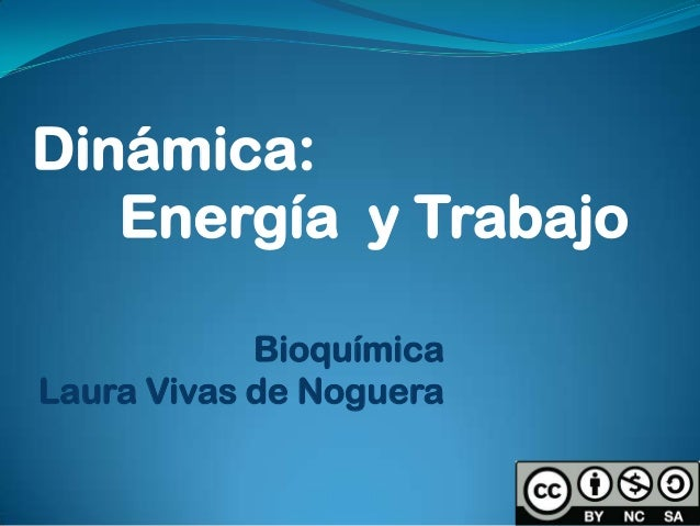 Bioquímica Laura Vivas de Noguera Dinámica: Energía y Trabajo