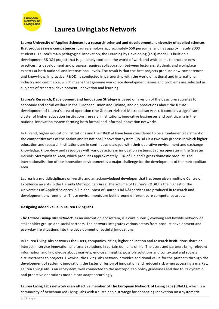 Laurea LivingLabs NetworkLaurea University of Applied Sciences is a research-oriented and developmental university of appl...