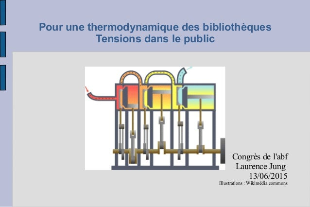 Pour une thermodynamique des bibliothèques Tensions dans le public Congrès de l'abf Laurence Jung 13/06/2015 Illustrations...