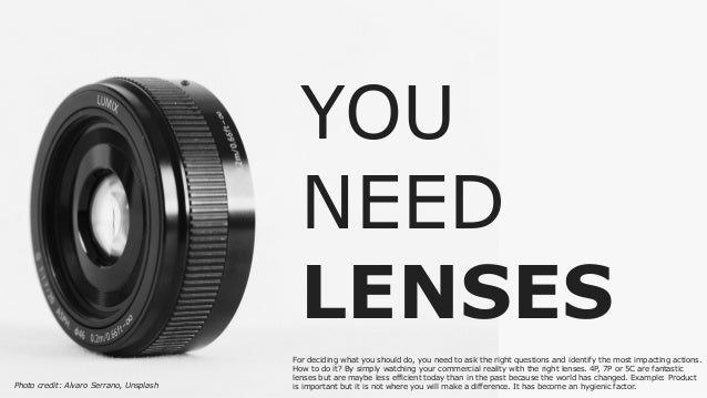 YOU NEED LENSES For deciding what you should do, you need to ask the right questions and identify the most impacting actio...