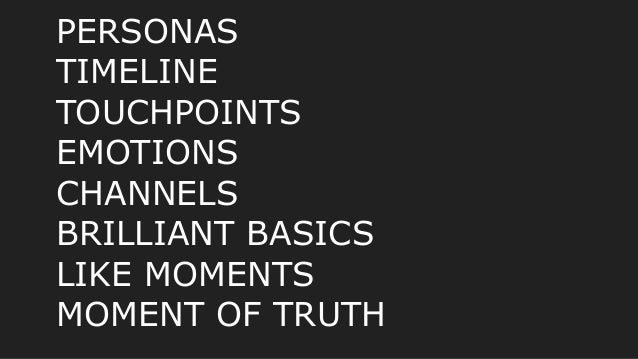 PERSONAS TIMELINE TOUCHPOINTS EMOTIONS CHANNELS BRILLIANT BASICS LIKE MOMENTS MOMENT OF TRUTH