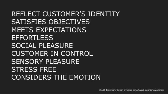 REFLECT CUSTOMER'S IDENTITY SATISFIES OBJECTIVES MEETS EXPECTATIONS EFFORTLESS SOCIAL PLEASURE CUSTOMER IN CONTROL SENSORY...