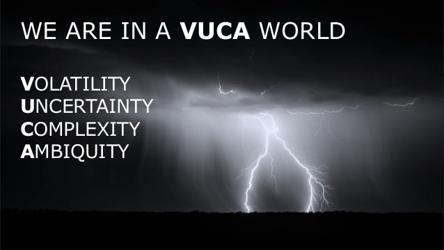 WE ARE IN A VUCA WORLD VOLATILITY UNCERTAINTY COMPLEXITY AMBIQUITY