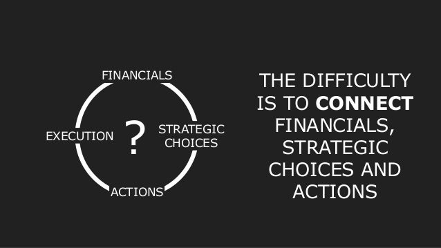 FINANCIALS STRATEGIC CHOICES ACTIONS EXECUTION THE DIFFICULTY IS TO CONNECT FINANCIALS, STRATEGIC CHOICES AND ACTIONS ?
