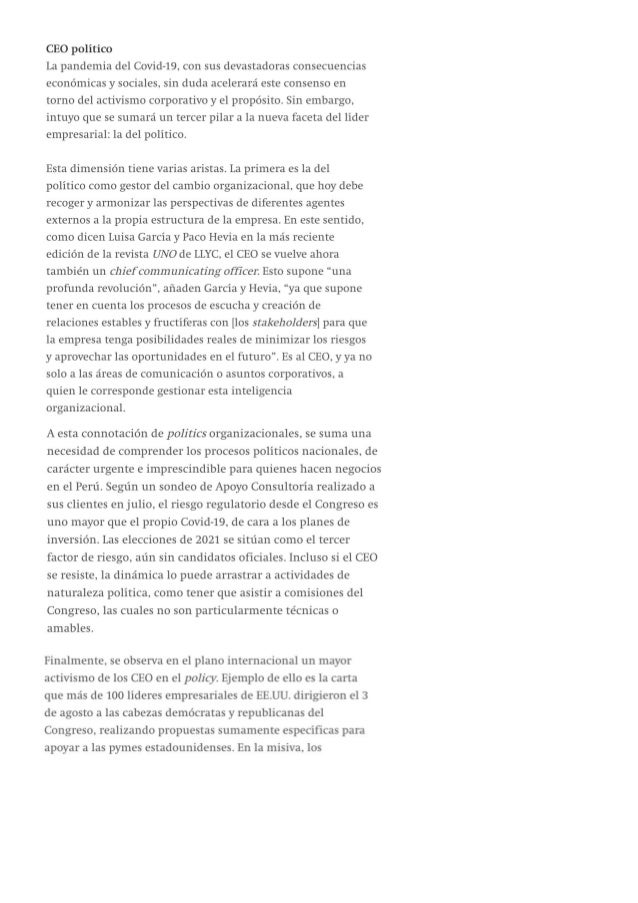 """Gonzalo Carranza: """"La urgencia del CEO político"""""""