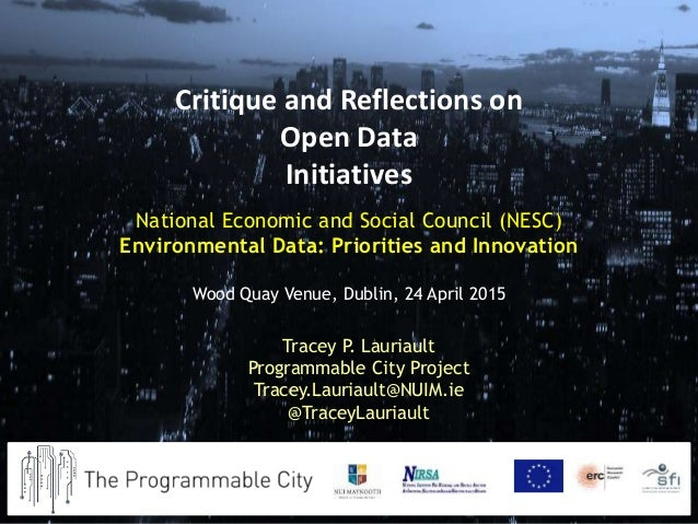 National Economic and Social Council (NESC) Environmental Data: Priorities and Innovation Wood Quay Venue, Dublin, 24 Apri...