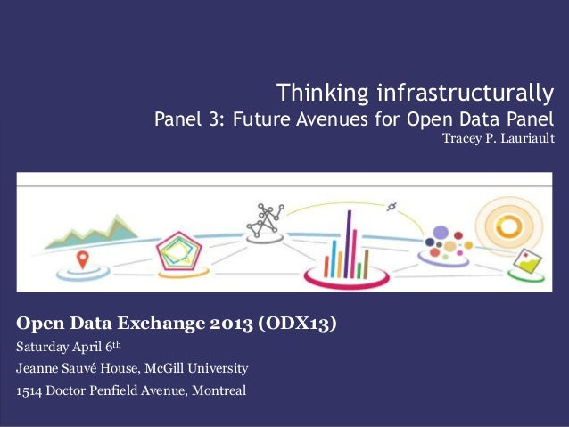Thinking infrastructurallyPanel 3: Future Avenues for Open Data PanelTracey P. LauriaultOpen Data Exchange 2013 (ODX13)Sat...