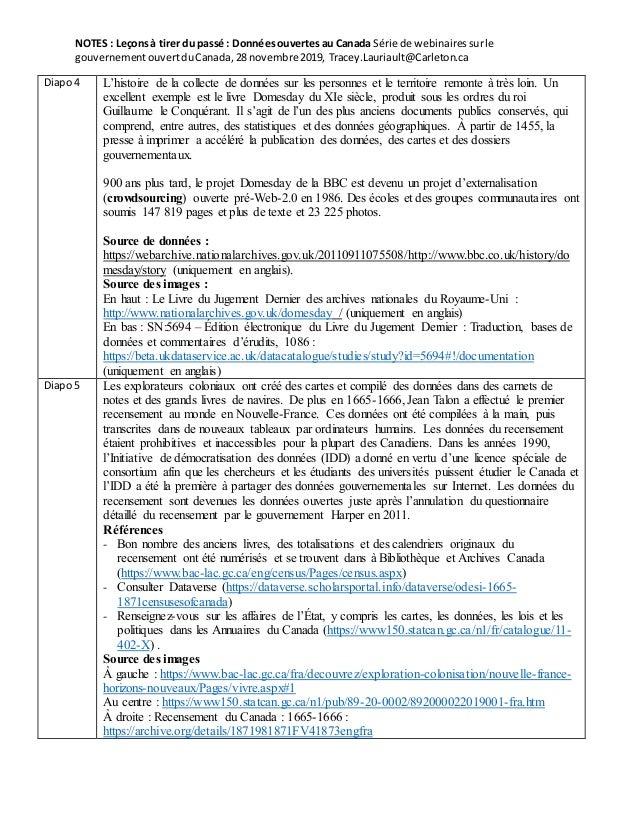 NOTES : Leçonsà tirer du passé : Donnéesouvertesau Canada Série de webinairessurle gouvernementouvertduCanada,28 novembre ...