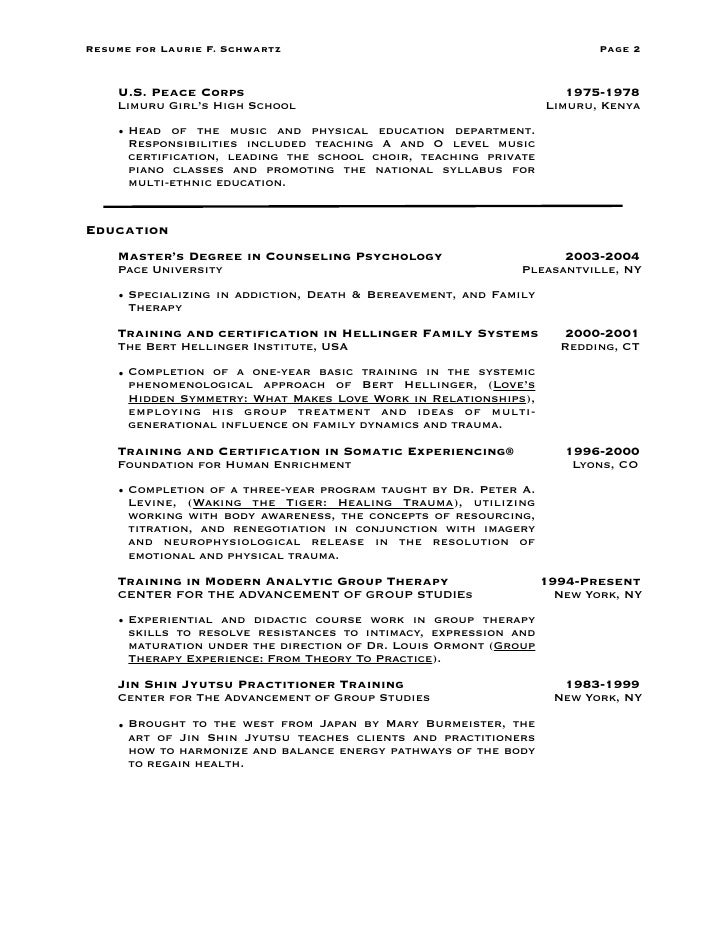 Peace corps resume