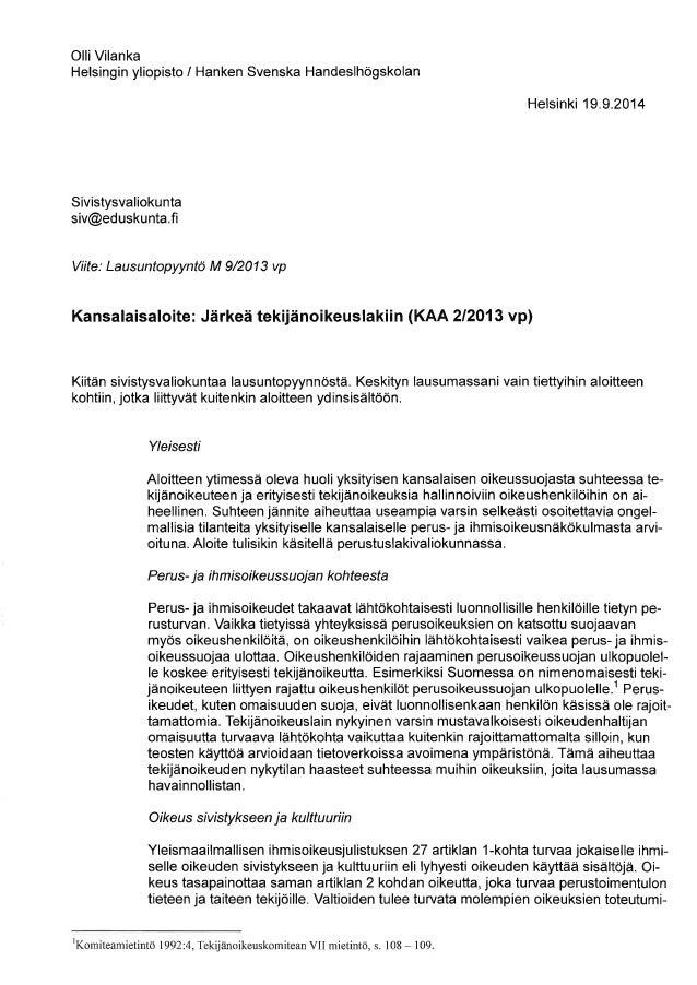OTT Olli Vilanka - Lausunto sivistysvaliokunnalle tekijänoikeusaloitteesta